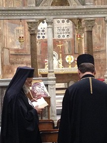 The Melkite Patriarch of Antioch and His Beatitude Svyatoslav Shevchuk at Santa Maria in Cosmedin. (Oct. 8, 2015)